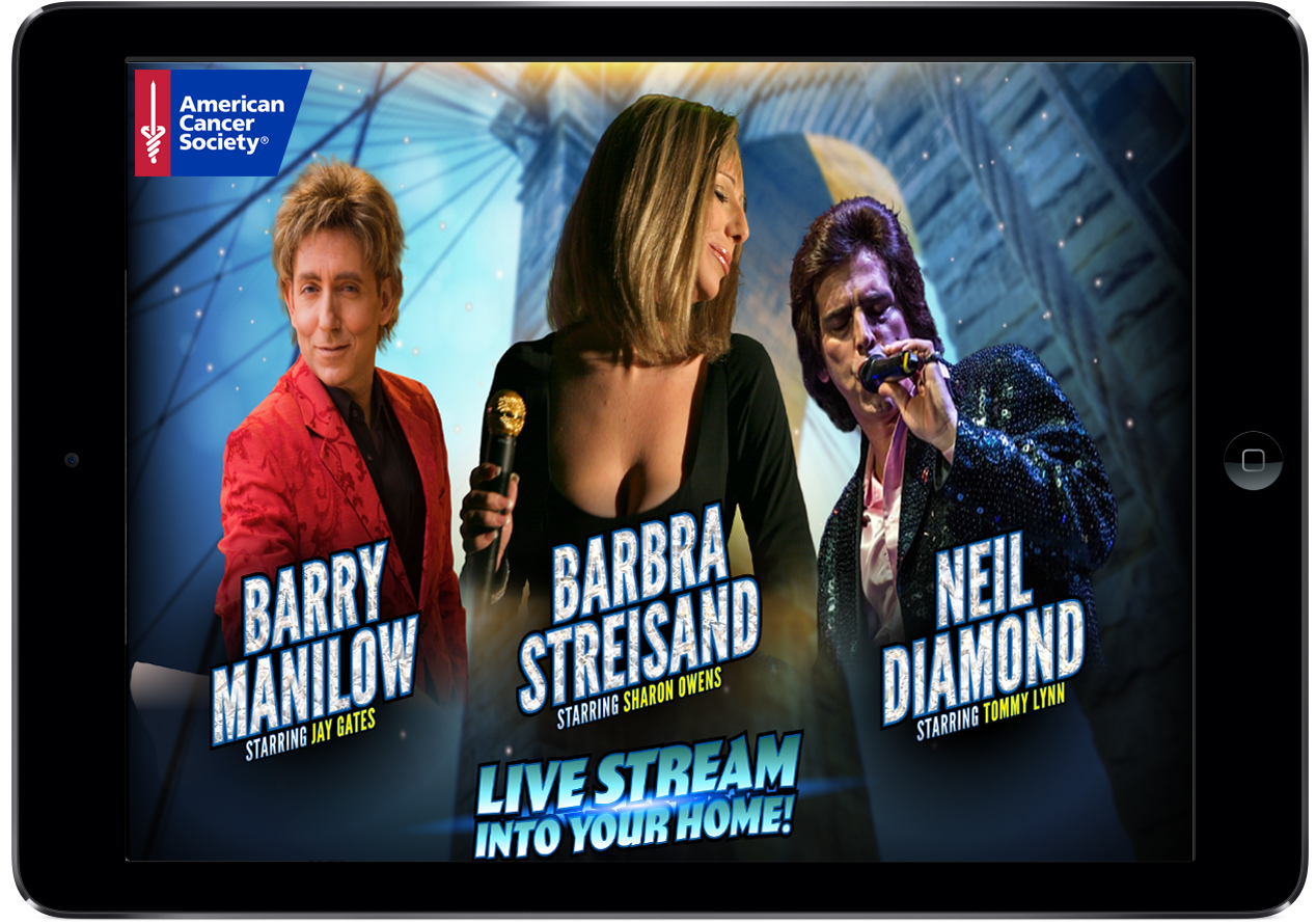 Legends of Brooklyn Neil Diamond, Barry Manilow and Babra Striesand on an IPad
